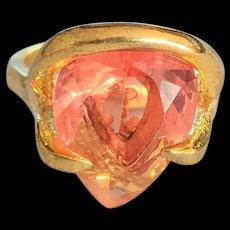 Peachy Pink Rhinestone Cocktail Ring