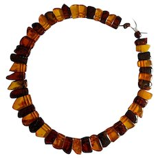 Polished Amber Fringe Necklace  clasp TLC