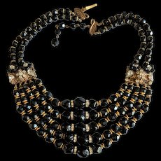 Black Crystal Glass and Rhinestone Rhondells Necklace