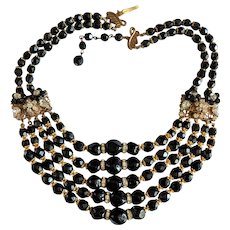 Black Crystal Glass and Rhinestone Rhondells Necklace