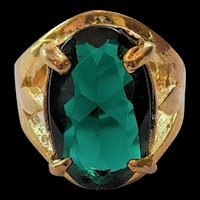 Emerald Green Glass Rhinestone Ring