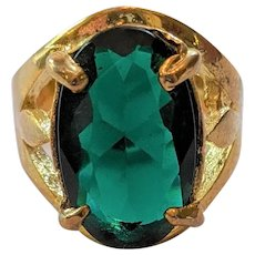 Emerald Green Glass Rhinestone Ring