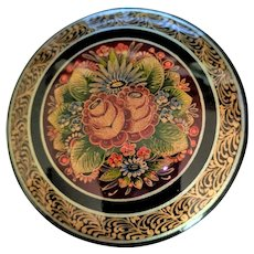 Russian Lacquer Ware Pin Beautiful Floral