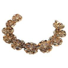 Vintage Trifari Rhinestone Floral Bracelet