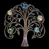 Sterling Silver Rhinestone Tree of Life Pin