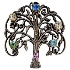 Sterling Silver Rhinestone Tree of Life Pin