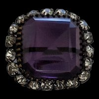 Purple Rhinestone Victorian Glass Pin