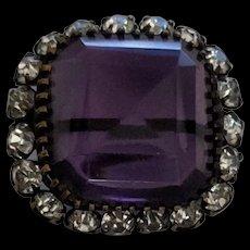 Purple Rhinestone Victorian Glass Pin