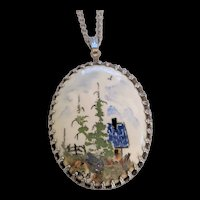 Mid Century Painted Porcelain Folk Art Pendant Necklace