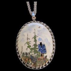 Mid Century Painted Porcelain Folk Art Pendant Necklace