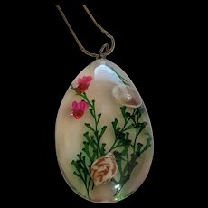 Clear Plastic Pendant Necklace with Seascape inclusions