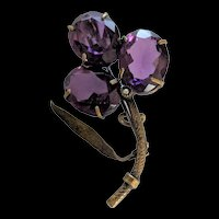 Victorian Purple Glass and Brass Clover / Shamrock Pin