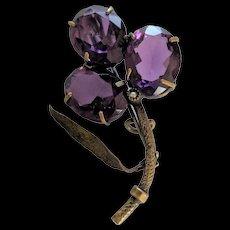 Victorian Purple Glass and Brass Clover / Shamrock Pin