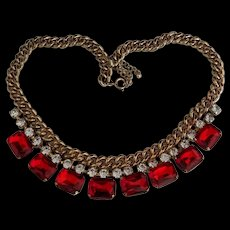 Big Red Rhinestone Necklace