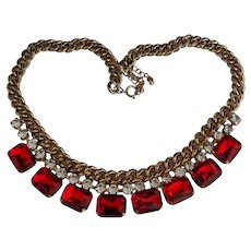 Big Red Rhinestone Necklace