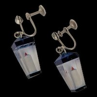 Clear Lucite Candle Lantern Earrings
