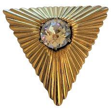 Mid Century Headlight Rhinestone Pin