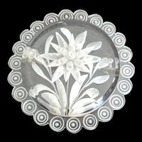 Clear Carved Lucite Edelweis Pin