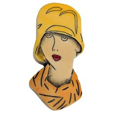Vintage Art Deco Woman's Face Carved and Colored Plastic