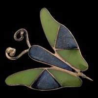 Lapis Sterling Silver Butterfly Pin