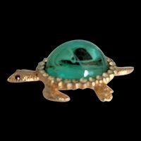 Flawed Emerald Glass Rhinestone Turtle Pin