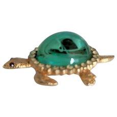 Flawed Emerald Glass Rhinestone Turtle Pin