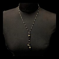 Art Deco Black Glass and Rhinestone Necklace