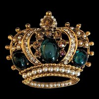 Emerald Green Glass Rhinestones Crown Pinl