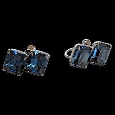 Midnight Blue Rhinestone Sterling Silver Earrings