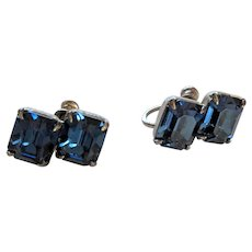Midnight Blue Rhinestone Sterling Silver Earrings