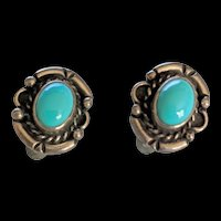 Mid Century Sterling Silver Turquoise Earrings