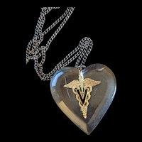 WWll Era Lucite Heart  Caduceus with Veterinary V