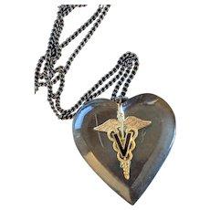 WWll Era Lucite Heart  Caduceus with Veterinary V