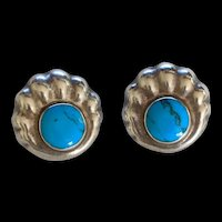 Sterling Silver Taxco Turquoise Earrings