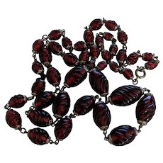 Vintage Cranberry Art Glass Beads Necklace