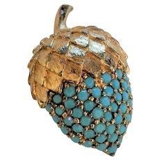 Panetta Turquoise Rhinestone Acorn Pin