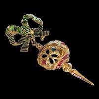 Christmas Ornament Pin  Dangling Orb