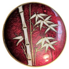 Red and White Enamel Bamboo Pin Pendant
