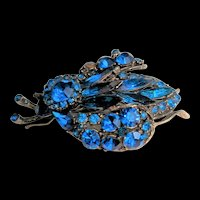 Royal Blue Rhinestone Large Bug Pin