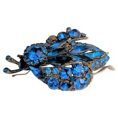 Royal Blue Rhinestone Large Bug Pin