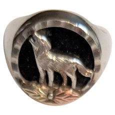 Sterling Silver Wolf Black Onyx Ring