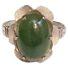 Sterling and Green Jade Ring  Clarks and Coombs