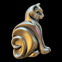 Satin Finish Sterling Cat Pin