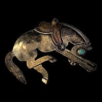 Sterling Silver Turquoise Bronco Horse Pin