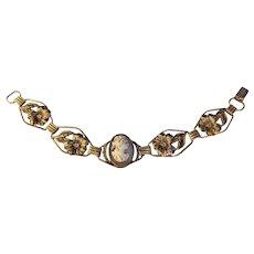 Retro Modern Era Sterling Link Shell Cameo Bracelet