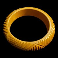 Yellow Bakelite Art Deco Carved Bangle Bracelet
