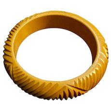 Yellow Bakelite Art Deco Carved Bangle Bracelet
