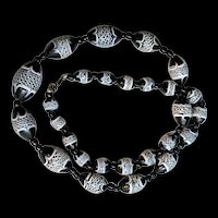 Lacy Black and White Venetian Glass Necklace