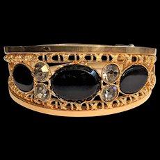 Gold Filigree Black Glass Rhinestone Bracelet