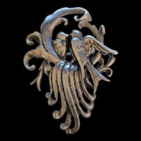 Old Heavy Sterling Silver Love Birds Pin